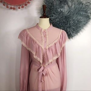 NWT Vtg 70s Ruffle Bib Babydoll Tent Dress 12 M L
